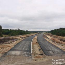 widok na trasę główną (kierunek Rzeszów ) z obiektu WD-22 22+300