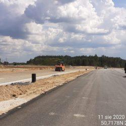 zagęszczanie podbudowy z kruszywa jezdnia lewa km 21+400