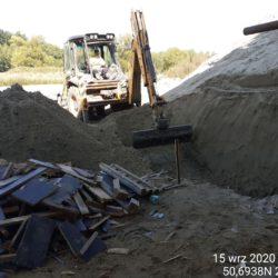 Wykonanie wykopu pod fundament ściany oporowej stożka obiektu WS-25 23+979