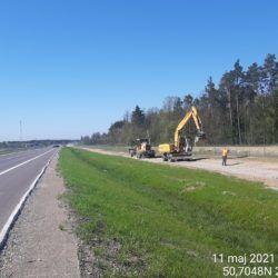 Profilowanie terenu przy wykonywanej drodze technologicznej 23+020